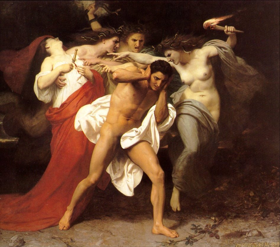 The Furies, spirits of Vengeance, pursue Orestes for the murder of his Mother.